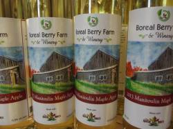 Their best seller is Manitoulin Maple Apple Dessert Wine - made with Mountain Maple Products maple syrup! It's a truly local wine made with products sources from northeastern Ontario.