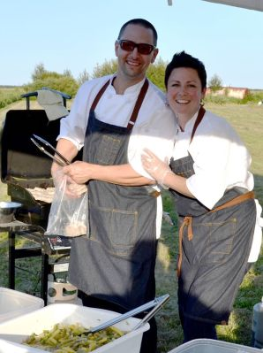 Chef René Dubois and Chef Laura Dubois of White Owl Bistro and Somewood Farms served up a ton of smiles along with their Turkey Sliders and Pickled bean Salad.