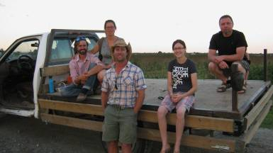 The joint organizing committee brains and brawn behind the event, touring the farm the evening before. L to R: Ryan Spence, Isabelle Spence-Legault, Mitch Deschatelets, Jolene Lisk, Patrick Keough. Missing form pic: Jilie Poirier-Menzinga, Isabel Mosseler, Sylvie Quenneville.