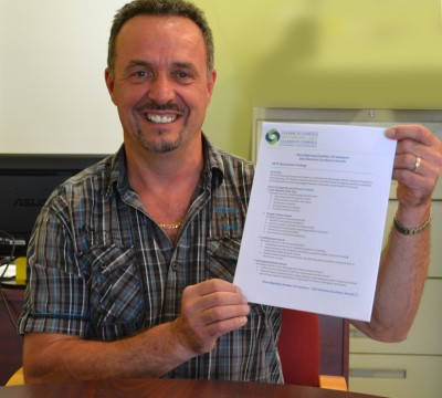 Chair of the Business Awards Committee, WNCCC, Marian Bergeron holds up a nomination form. He's ebncouraging all individuals and businesses in West Nipissing to submit nominations.